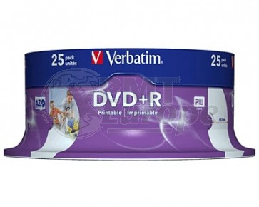 DVD+R 4.7GB 16X Verbatim 25 stuks full wit inktjet printable