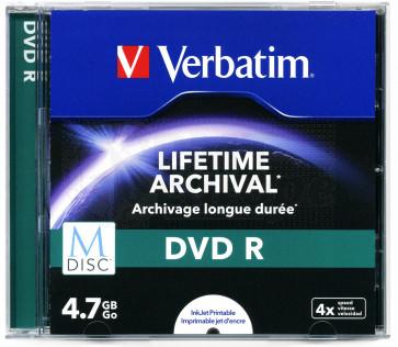 M-Disc DVD R 4.7GB 4X Verbatim full wit inktjet printable
