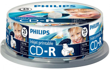 CD-R 80min 52X Philips 25 stuks full wit inktjet printable Cakebox