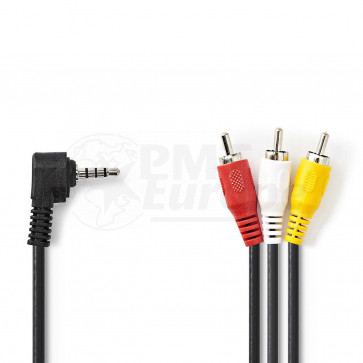 Kabel 3.5mm mini jack (4 pin) - 3* RCA/Tulp 2m