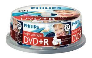 DVD+R 4.7GB 16X Philips 25 stuks full wit inktjet printable Cakebox