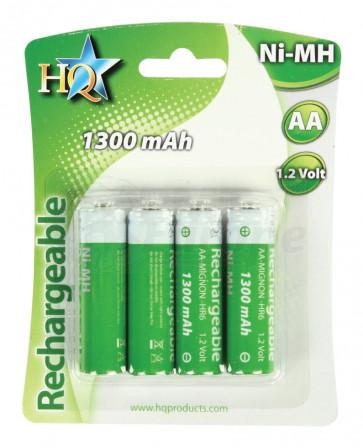 Oplaadbare batterij AA 1300 mAh NiMH HQ 4 stuks
