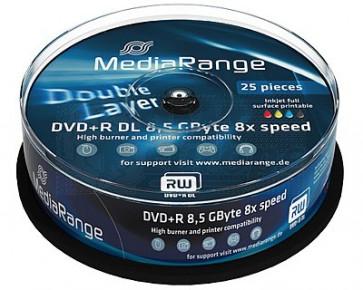 DVD+R 8.5GB 8X Mediarange double layer 25 stuks vol wit inktjet printable