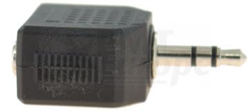 Mini jack 3.5mm male verloop naar 2 mini jack female