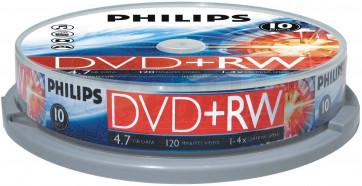 DVD+RW 4.7GB 4X Philips 10 stuks