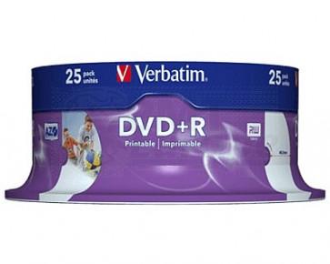 DVD+R 4.7GB 16X Verbatim 25 stuks full wit inktjet printable