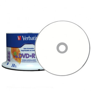 DVD+R 8.5GB 8X Verbatim double layer 50 stuks vol wit inktjet printable