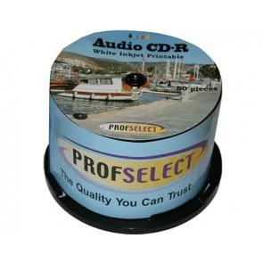 CD-R 80min AUDIO Profselect 50 stuks full wit inktjet printable