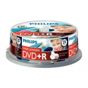 DVD+R 4.7GB 16X Philips 25 stuks full wit inktjet printable Cakebox