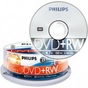 DVD+RW 4.7GB 4X Philips 25 stuks