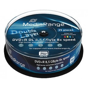 DVD+R 8.5GB 8X Mediarange double layer 25 stuks vol wit inktjet printable