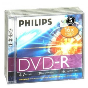 DVD-R 4.7GB 16X Philips 5 stuks in jewelcase