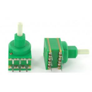 Potmeter 10KA (Lin) stereo (dual) Center lock D-shaft 4mm o.a. voor Eela audio mengpanelen