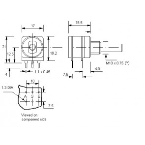 Potmeter 10KA (Lin) + 1KC (Anti log) Center lock D-shaft 4mm o.a. voor Eela audio mengpanelen