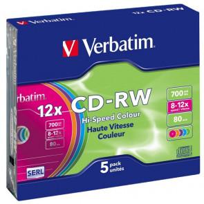 CD-RW 80 min 12X Verbatim 5 stuks in slimcase (43167)