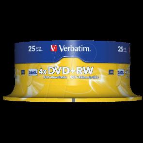 DVD+RW 4.7GB 4X Verbatim 25 stuks (43489)