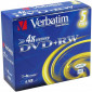 DVD+RW 4.7GB 4X Verbatim 5 stuks in jewelcase (43229)