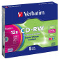 CD-RW 80 min 12X Verbatim 5 stuks in slimcase (43167)